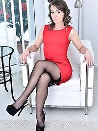 Beautiful Angel Karyna in thigh high stockings