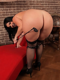 Raven haired Montse Swinger gets kinky with a riding crop