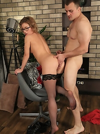 Beautiful Lisa wears stockings as she gets fucked