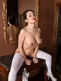 Sexy Alejandra in white lingerie