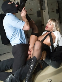 Wild fetish blonde hardly fucked by two dicks in this jail