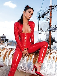 Wild latina in red latex outfit suck and fuck two big dicks