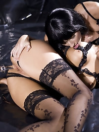 Three amazing lesbians in stockings playing and going mad