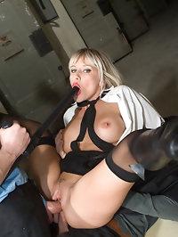 Gorgeous big boobed blonde in uniform satisfies two cocks