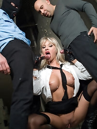 Gorgeous big boobed blonde in uniform satisfies two cocks