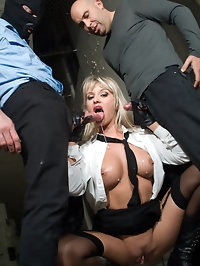 Fetish booty blonde fucking two guys in jail and gets facial