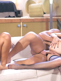Brunette and blond hotties share a big cock and get cumshot