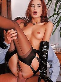 Brigitte masturbates and takes dick deep before the cumshot