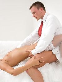 Hot model in white lingerie fucking two huge juicy cocks