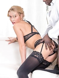 Katrin Tequila wears hot lingerie during interracial anal