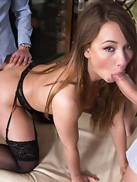 Cock hungry slut Taylor Sands in a trio with hardcore DP