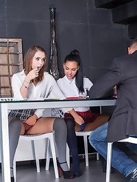 Schoolgirls Apolonia & Zoe Doll Are Punished With a Threeway