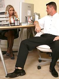 Blonde secretary slut Amy Smith fucking at work