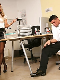 Blonde secretary slut Amy Smith fucking at work