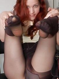 Beauty loves black pantyhose with stilettos
