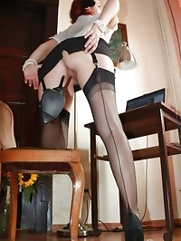 secretary hottie flashes her nylons