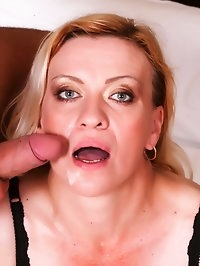 Slutty blonde grandma takes two loads on her pretty face