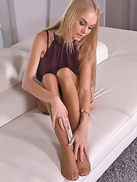 Breath-Taking Looks: Slim Blonde Angel With Endless Legs
