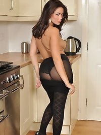 Ava strips to reveal her lovely round arse in pantyhose