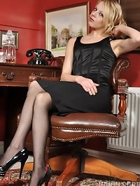 April the slutty secretary strips from her office clothes..