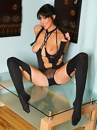 Stunning Lexi in sheer black nylon lingerie, stockings and..