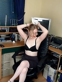 Office girl Claire plays with her pussy in stockings