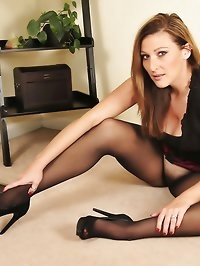Beauty in black pantyhose and stilettos