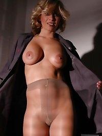 Blonde in nude pantyhose