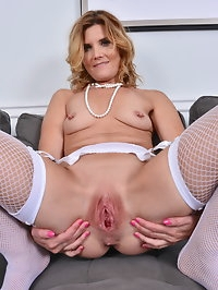 Naughty housewife Alby Daor playing with her pussy