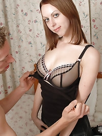 Busty Emily X sucks cock and riding hard