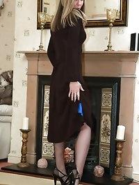 sexy slip and seams posing