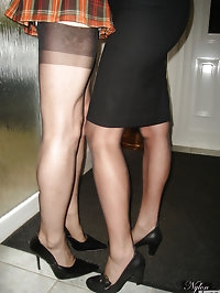 Jane and Tgirl friend play schoolgirl and mistress