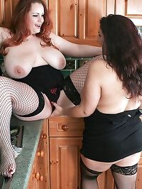 Redd and Mellie suck tits and lick cunts