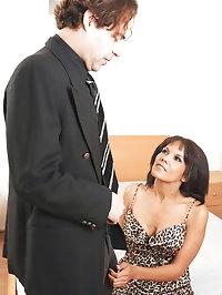 Sex addict Anjanette Astoria sucks on a cock before..