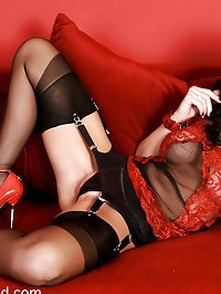 Emma In sexy red lingerie CFM heels and black RHT stockings