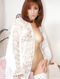 Outstanding brunette MILf in white stockings is perfect