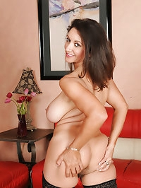 Busty brunette Persia diddles with her hairy 53 year old..