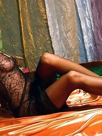 Beautiful MILF in sexy black stockings