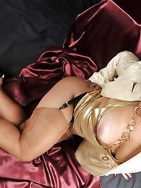 Amanda wears golden lingerie