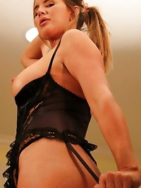 Naughty milf in lingerie and stockings wants your cock