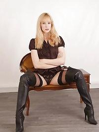 Leggy blonde Milf Joss, feels so sexual in her thigh high..