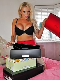 Lucy Zara puts on her new knee high leather boots and then..
