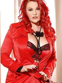 Busty Beauty In Scarlet Lingerie