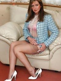 milf in sexy see-thru blouse