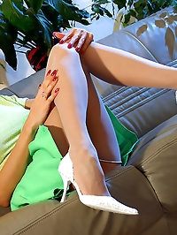 Classic white stockings on the sexiest MILF legs