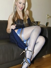 Blonde amazes in her blue stockings