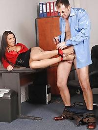 Sexy Amabella doing footjob on boss