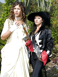 Two girls with guns in countryside foursome