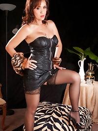 Great brunette mom in black stockings