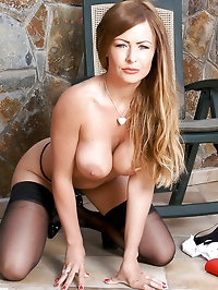 Sexy Angel Emma in seamed stockings and sexy heels